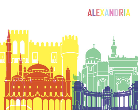 Alexandria skyline pop in editable vector file
