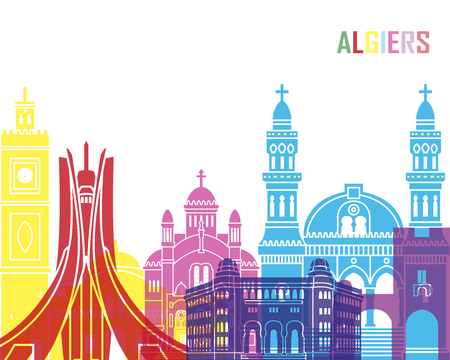 Algiers skyline pop in editable vector file