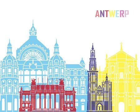 Antwerp skyline pop in editable vector file