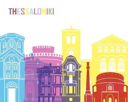 Thessaloniki skyline pop in editable vector file