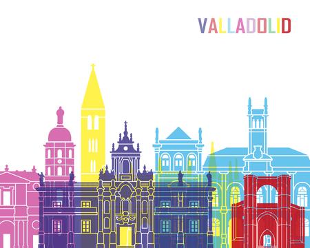 Valladolid skyline pop in editable vector file