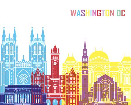 Washington DC skyline pop in editable vector file Stock Photo
