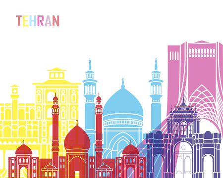 Tehran skyline pop in editable vector file