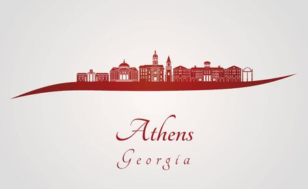 Athens, GA skyline in red and gray background in editable vector file 版權商用圖片