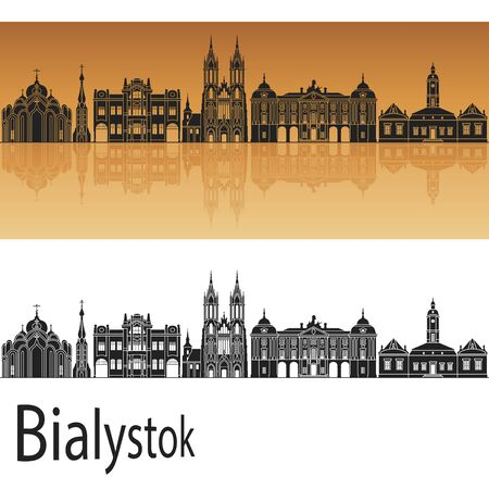 Bialystok skyline in orange background in editable vector file