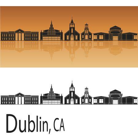 Dublin CA in orange background in editable vector file
