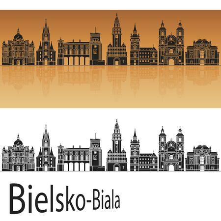 reflection: Bielsko-Biala skyline in orange background in editable vector file