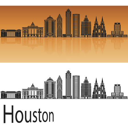 Houston skyline in orange background in editable vector file Stock Photo