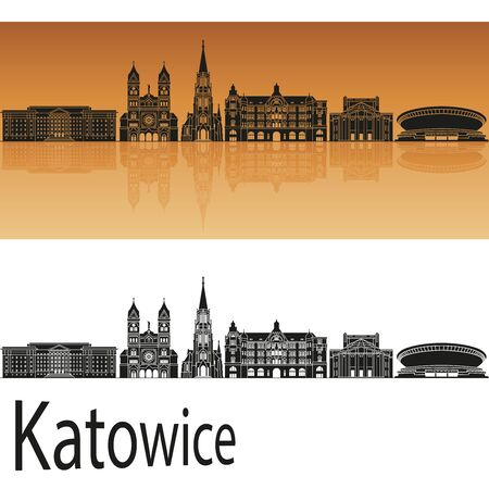 Katowice skyline in orange background in editable vector file