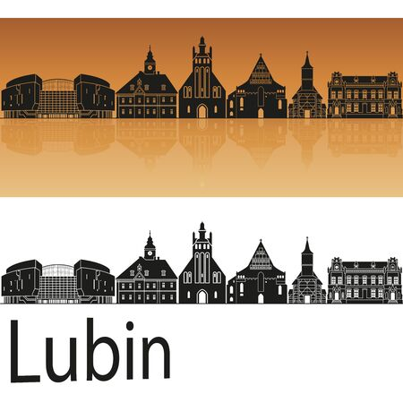 Lubin skyline in orange background in editable vector file