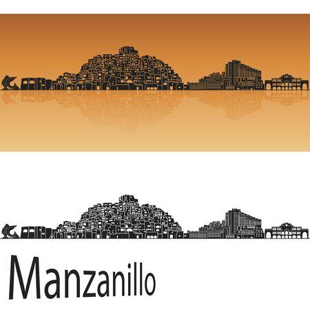reflection: Manzanillo skyline in orange background in editable vector file