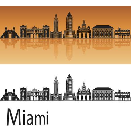 Miami V2 skyline in orange background in editable vector file
