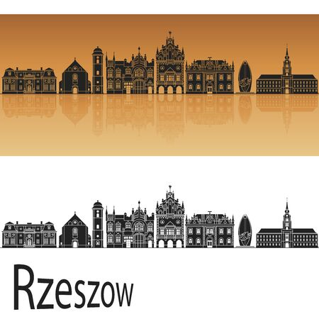 reflection: Rzeszow skyline in orange background in editable vector file Stock Photo