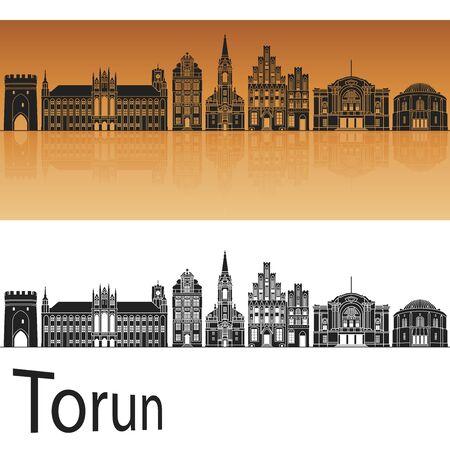reflection: Torun skyline in orange background in editable vector file
