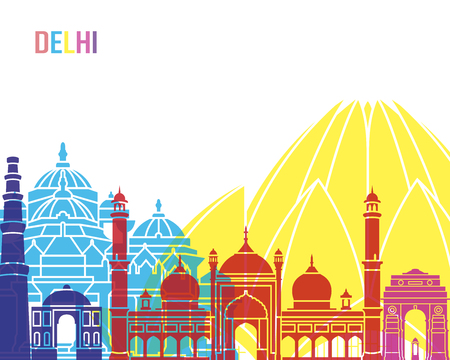 bright: Delhi skyline pop in editable vector file