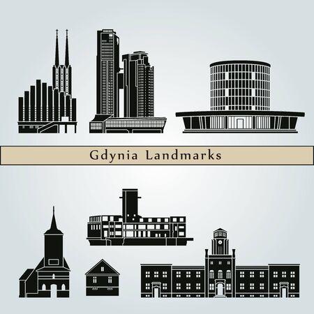 Gdynia 랜드 마크와 기념물 편집 가능한 벡터 파일에 파란색 배경에 고립 스톡 콘텐츠
