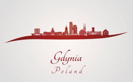 편집 가능한 벡터 파일에 빨간색과 회색 배경에서 Gdynia 스카이 라인