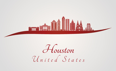 Houston V2 skyline in red and gray background in editable vector file