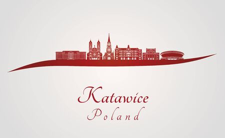 Katowice skyline in red and gray background in editable vector file Zdjęcie Seryjne