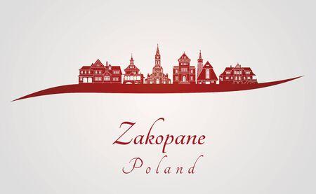 Zakopane skyline in red and gray background in editable vector file