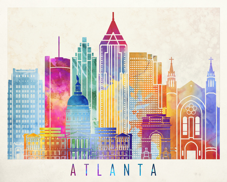 Atlanta landmarks watercolor poster