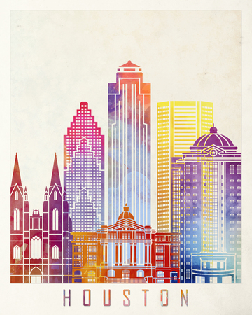 Houston landmarks watercolor poster
