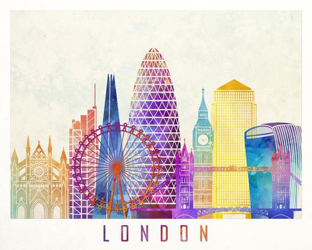 런던 랜드 마크 수채화 포스터 스톡 콘텐츠