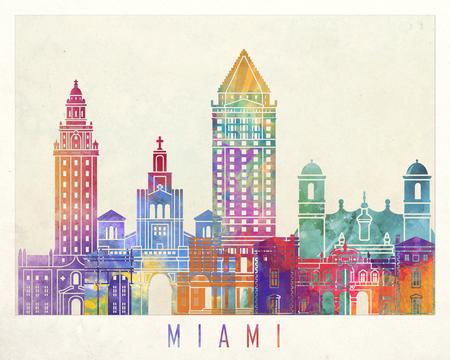 Miami landmarks watercolor poster