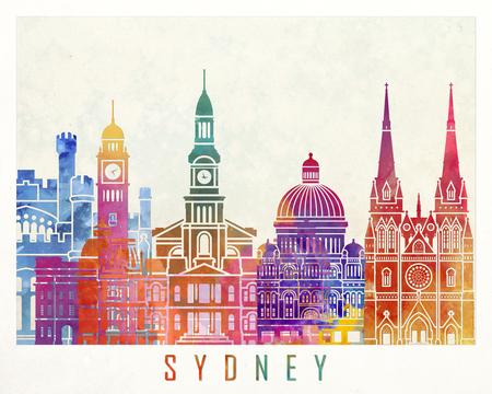 sydney skyline: Sydney  landmarks watercolor poster