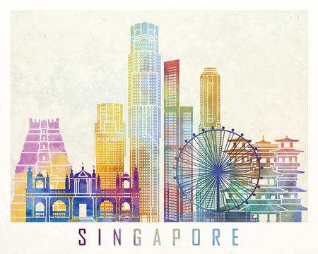 Singapore landmarks watercolor poster Stock Photo