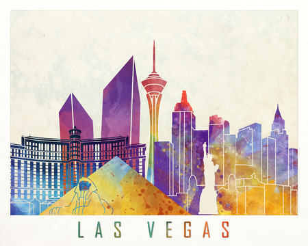 Las Vegas landmarks watercolor poster Stock Photo