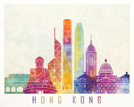 Hong Kong landmarks watercolor poster