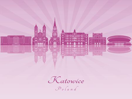 Katowice skyline in purple radiant orchid in editable vector file