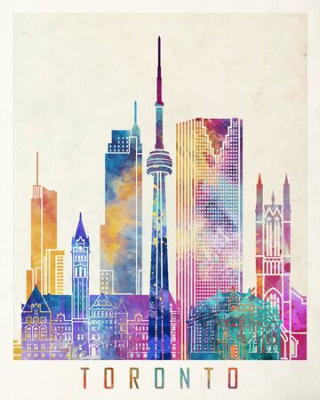 Toronto landmarks watercolor poster