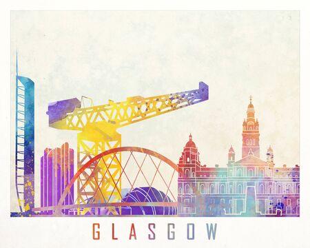 Glasgow landmarks watercolor poster Stock Photo
