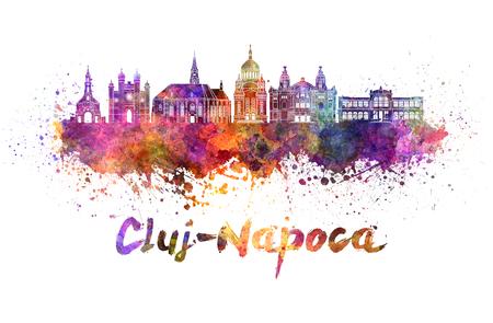 クリッピングパスを持つ水彩画のスプラッタのクルージュ-ナポカスカイライン