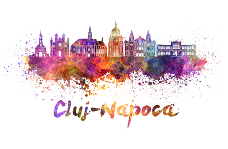 Cluj-Napoca skyline in watercolor splatters with clipping path