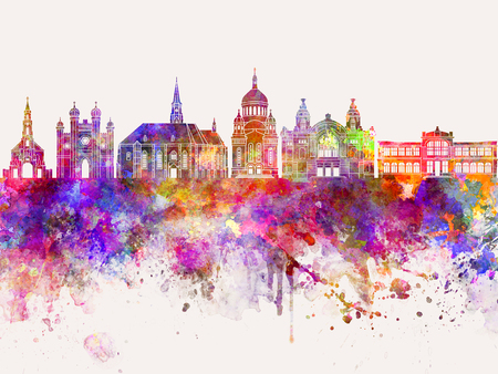 Cluj-Napoca skyline in watercolor background 스톡 콘텐츠