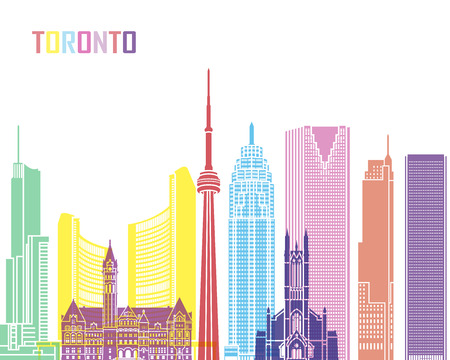 Toronto skyline pop in editable vector file