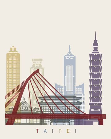 Taipei skyline poster in editable vector file