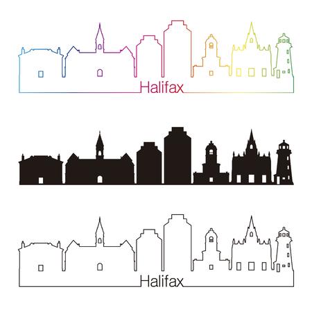 Halifaxi V2 skyline linear style with rainbow in editable vector file Illustration