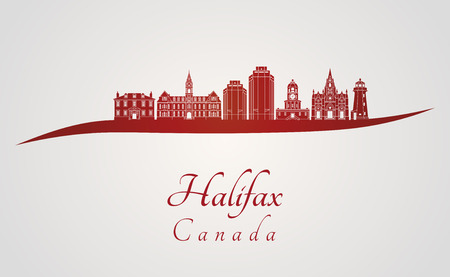 Halifax V2 skyline in red and gray background in editable vector file Illustration