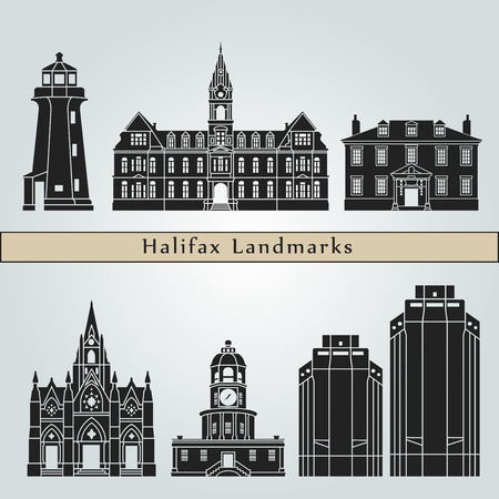 Halifax V2 landmarks and monuments isolated on blue background in editable vector file
