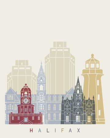 Halifax V2 skyline poster in editable vector file