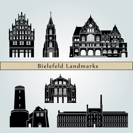 Bielefeld landmarks and monuments isolated on blue background in editable vector file