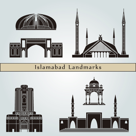 Islamabad landmarks and monuments isolated on blue background in editable vector file 版權商用圖片