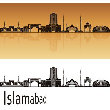 Islamabad skyline in orange background in editable vector file