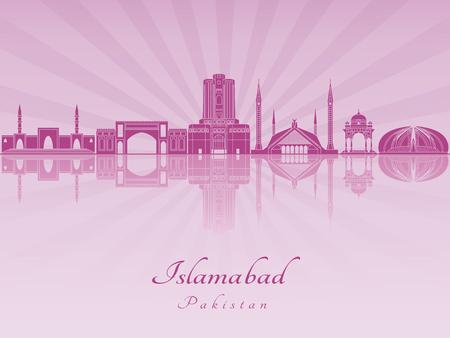 Islamabad skyline in purple radiant orchid in editable vector file 版權商用圖片