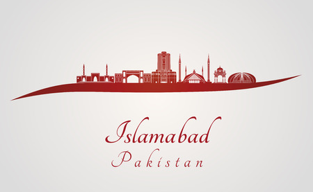 Islamabad skyline in red and gray background in editable vector file