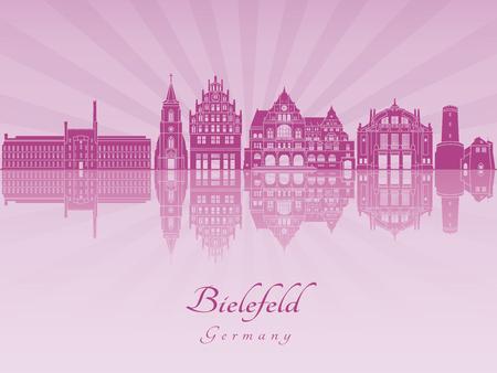 Bielefeld skyline in purple radiant orchid in editable vector file 版權商用圖片
